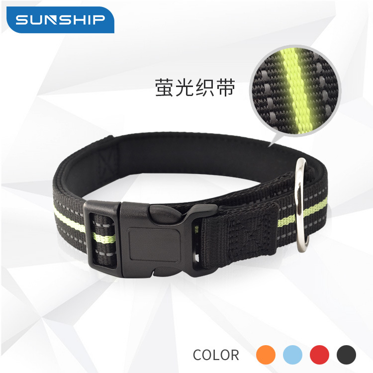 Pet Collar Night Light Reflective Dacron In Large Fluorescent Dog Neck Ring Hot Sales