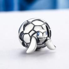 PANDACH 100% 925 Sterling Silver Turtle Tortoise & Clear CZ Beads fit Original 3mm Bracelets & Bangles DIY Jewelry C192