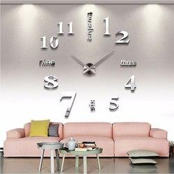 Большие настенные часы 3D современный дизайн бесшумные большие цифровые акриловые зеркальные самоклеящиеся настенные часы Наклейка для ук...