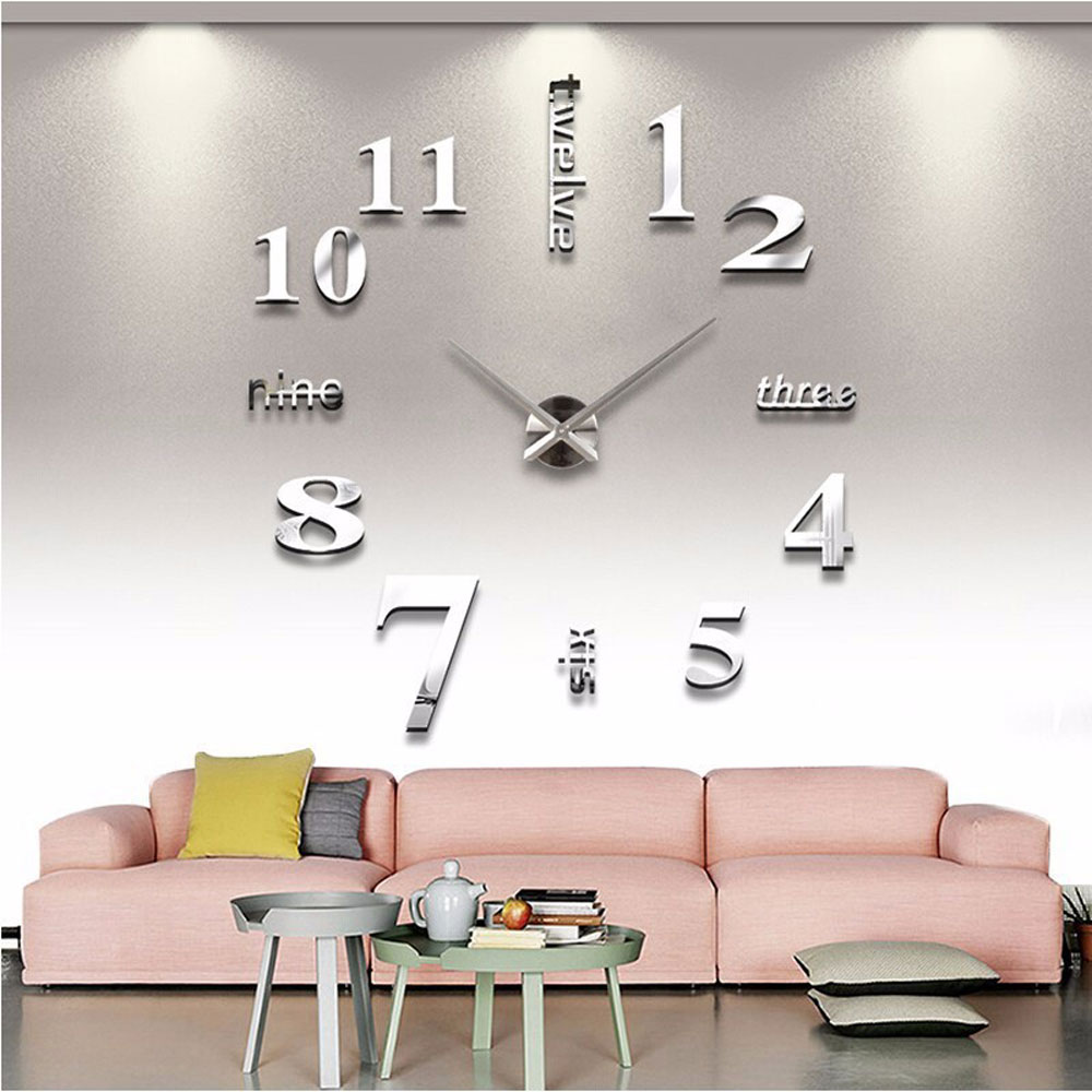 Large 3D Wall Clock Modern Design Silent  Big Digital Acrylic Mirror Self Adhesive Wall Clock Sticker For Living Room Decor