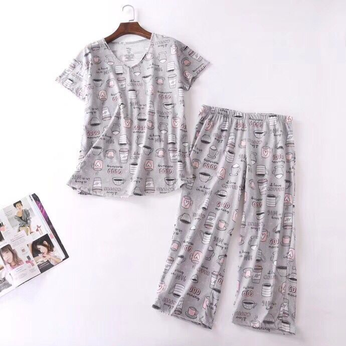 Summer New Style Cartoon Printed Large Size Pajamas Two-Piece Set WOMEN'S Short Sleeved Korean-style Cute Thin Home Wear