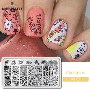 Image 1 - GEBOREN ZIEMLICH Stanzen Platten Neue Jahr Feier Weihnachten Thema Edelstahl Rechteck Nail art Bild Stempel Vorlage BPX L013
