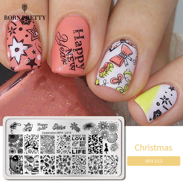 GEBOREN ZIEMLICH Stanzen Platten Neue Jahr Feier Weihnachten Thema Edelstahl Rechteck Nail art Bild Stempel Vorlage BPX L013
