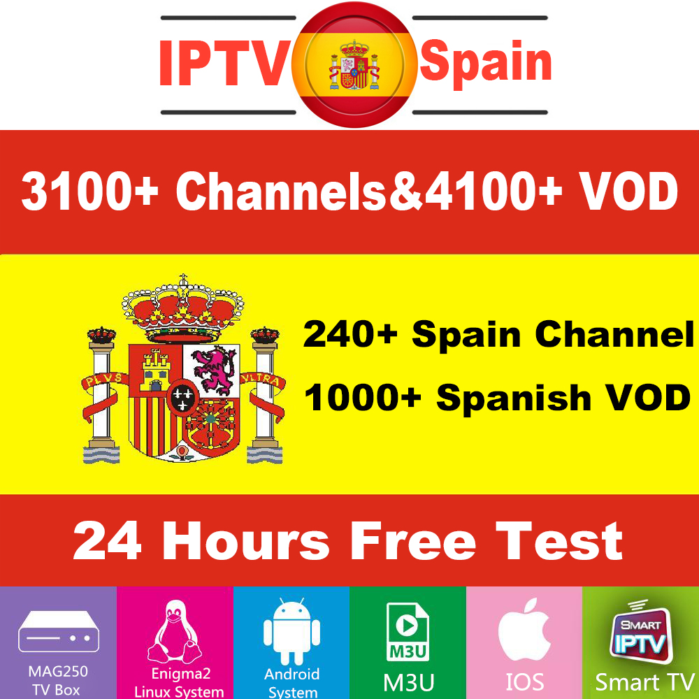 IPTV España 1 Year Subscription 240+ Spain Channels&1000+ Spanish VOD IPTV M3U Code For VLC Smart TV IOS Enigma2 Android TV Box