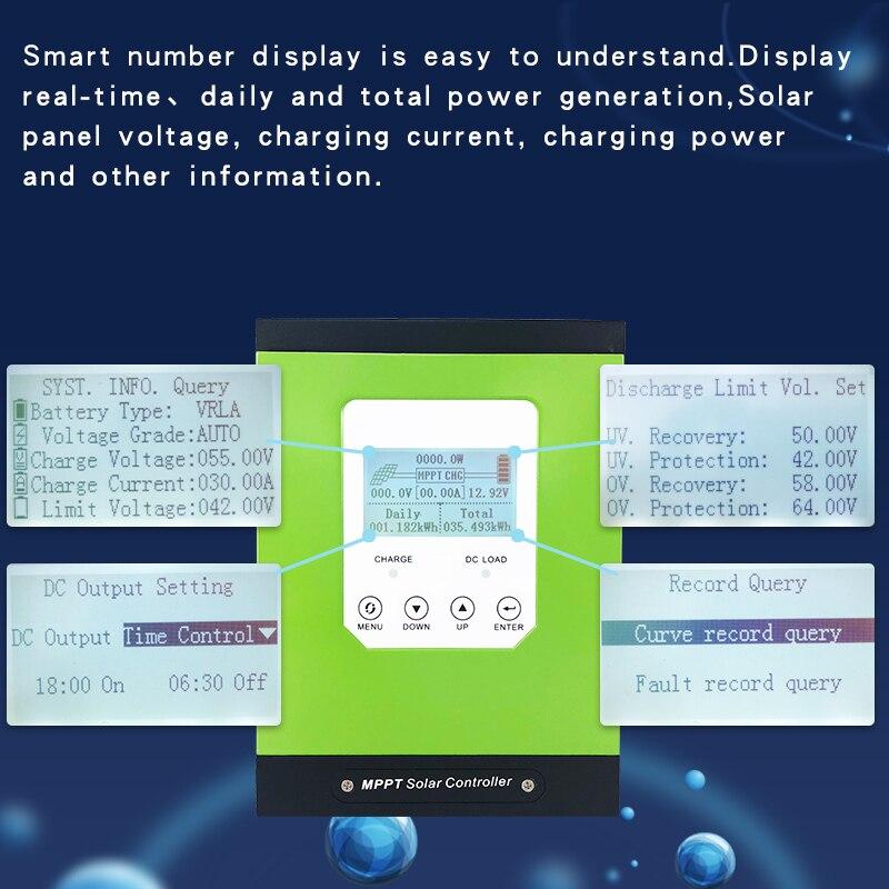 Regulator ładowania słonecznego mppt 20a 30a 40a 50a 60A regulator panelu słonecznego 12V 24V 48V LCD auto przewód akumulatora litowo-jonowego-ogniwo kwasowe