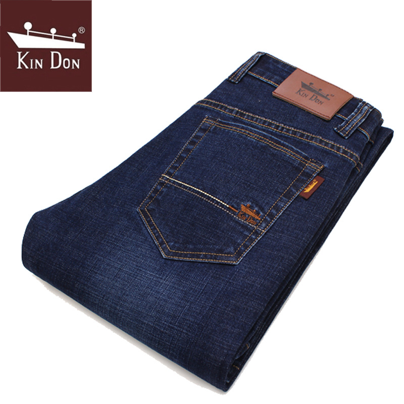Spring MEN'S Jeans Slim Fit Straight-Cut Men's Trousers Business Casual Elasticity Brand Autumn And Winter Thick Section Young M