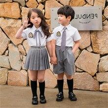 Студенческий класс комплект одежды Лето с коротким рукавом Дети JK Униформа корейский Костюм Моряка британский стиль школьная форма комплект из 2 предметов галстук