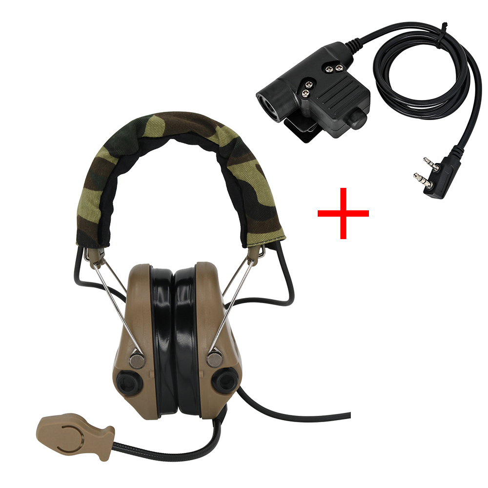 Tactical Airsoft Sordin Headset Hunting Shooting Headphone Military Pickup Noise Reduction Hear Protection Earmuff+U94 2 Pin Ptt
