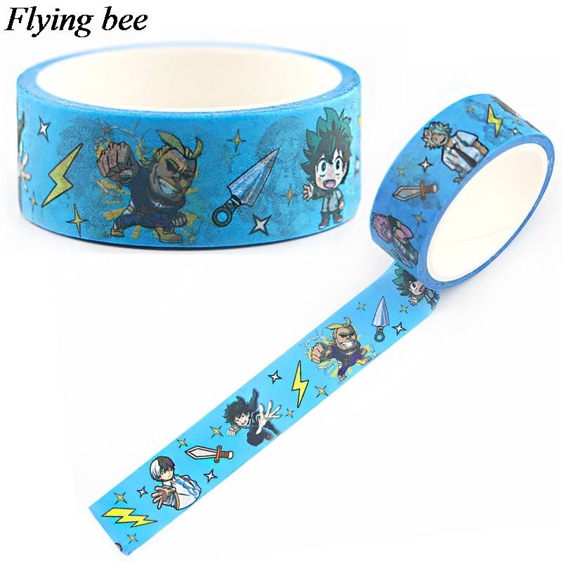 Flyingbee 15mmX5m Paper Washi Tape Comic Boy Adhesive Tape DIY Cartoon Funny Sticker Label Masking Tape X0611