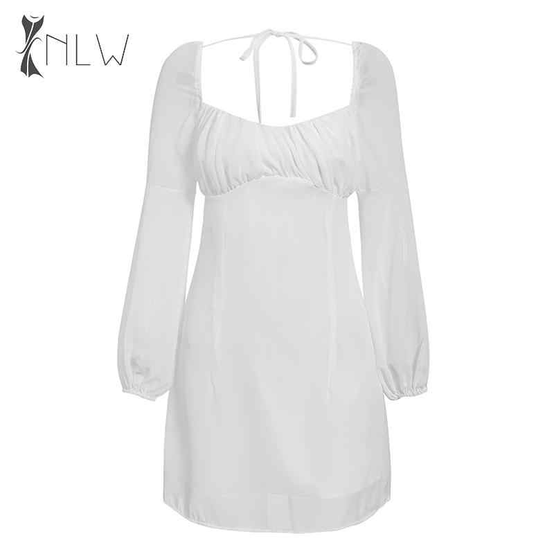 NLW blanc en mousseline de soie automne hiver robe 2019 femmes lanterne manches courtes robe de soirée Sexy dos nu solide robe Vestidos