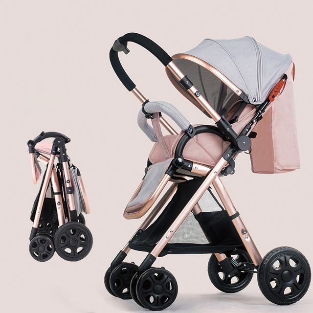 2020 New High Landscape Light Weight Four Wheel Baby Stroller Can Sit and Lie Infant Luxury Car Pram Chair Baby Carriage 6.8kg