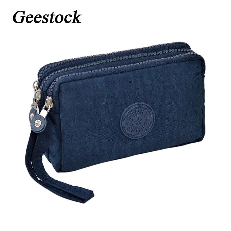 Geestock Women Wallets 3 Layer Wallet for Women Purse Clutch Phone Coin Pouch Canvas Cards ID Keys Money Bags Makeup Pocket