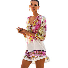 Beach Dress 2019 Tunic Sexy Women Summer Dresses Print Casual Dress Plus Size Bohemian Beach Dresses Summer Tunic цена и фото