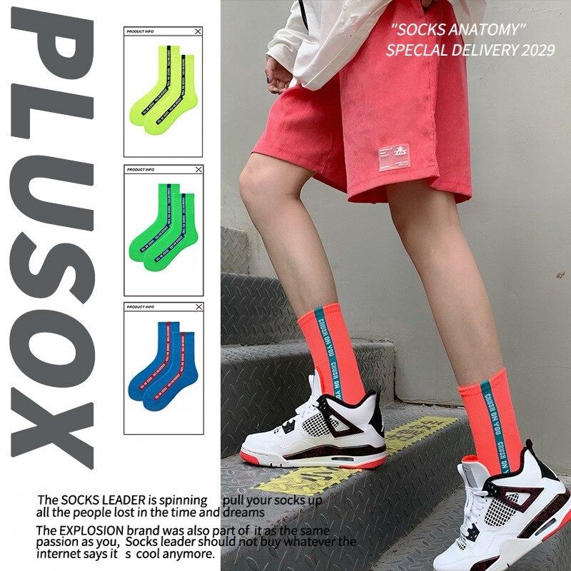 INS Hot Tide Socks Fiuorescent Color Men/Women College Wind Japanese Personality Long Tube Socks Streetwear Couple Cotton Socks
