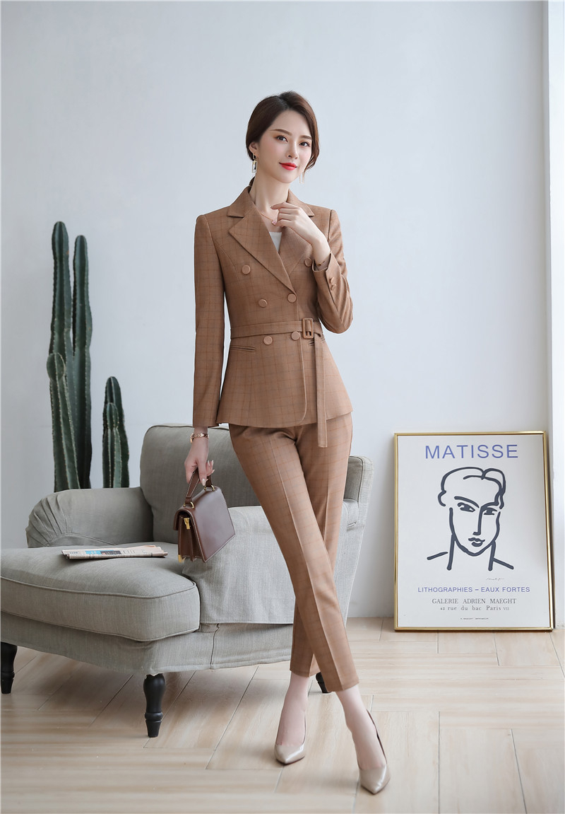 High Quality Fabric Novelty Pink Plaid Business Suits With Jackets and Pencil Pants Ladies Work Wear Blazers Pantsuits with Belt 22