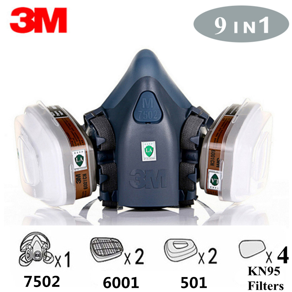 3M 7502 KN95 Anti Dust Gas Mask Respirator 9 In 1 Silicone Anti-dust Organic Vapor Benzene PM2.5 Multi-purpose Protection Tool
