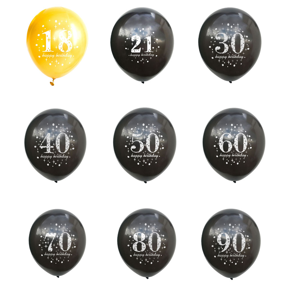 12inch Gold Black Latex Balloons 16 <font><b>18</b></font> 21 30 40 50 60 70 80 <font><b>90</b></font> Years Birthday Decorations Adult Happy Birthday Party Decoration image