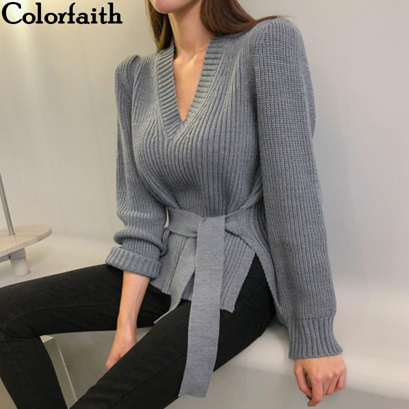 Colorfaith New 2019 Autumn Winter Women's Sweaters V-Neck Minimalist Lace Up Tops Fashionable Korean Style Casual Solid SW8110