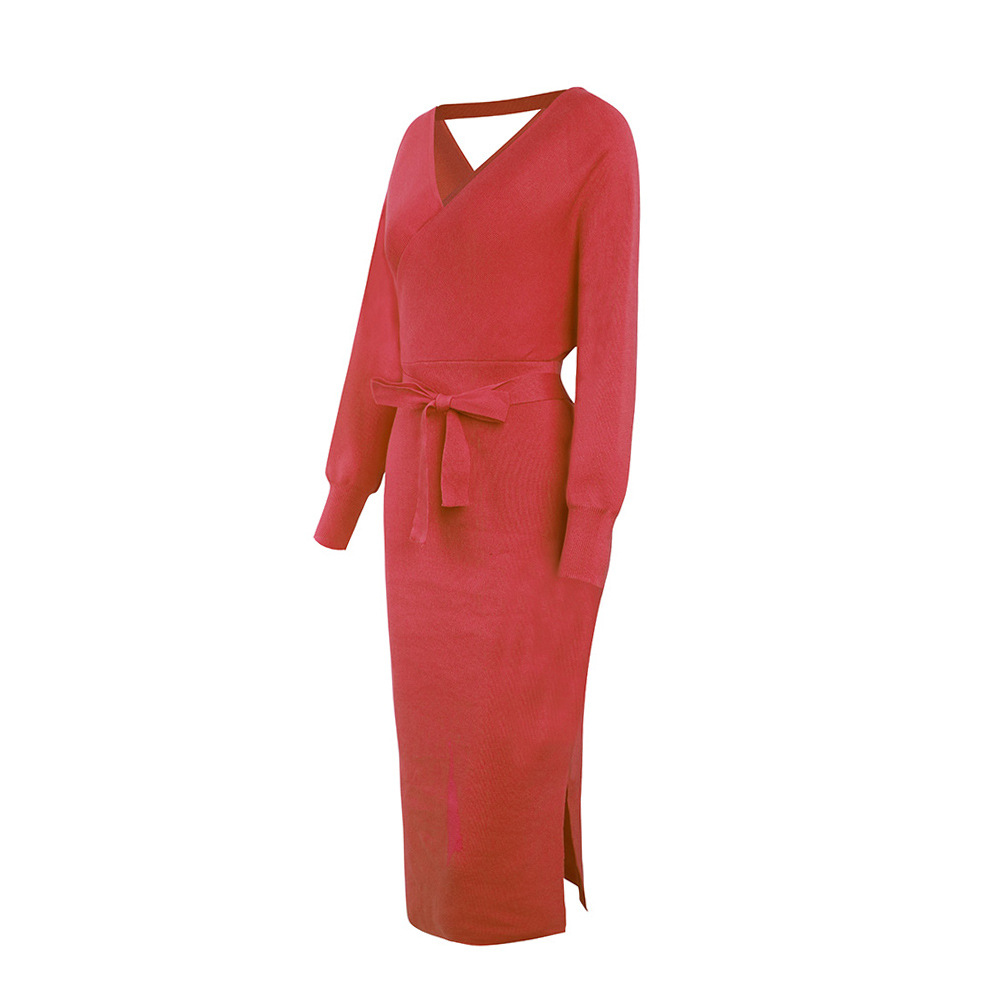 Long Sleeve V Neck With Cross Belt Sweater Knitted Dress 19