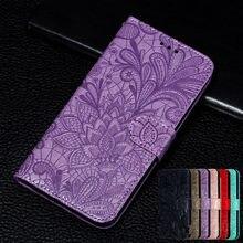 Para Huawei P40 Honor 20 Pro 9X 10i Lite 7A 7C 8A Prime 8X 9 Lite 9A Y5 Y7 Y6 2019 Funda de cuero 3D Embossing Lace flower wallet