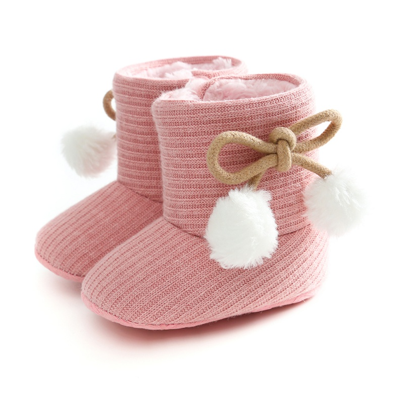 Autumn Winter Infant Baby Girls Boys Cotton Snow Boots Cute Solid Color Bowknot Plush Ball Soft Bottom First Walkers Half Boots