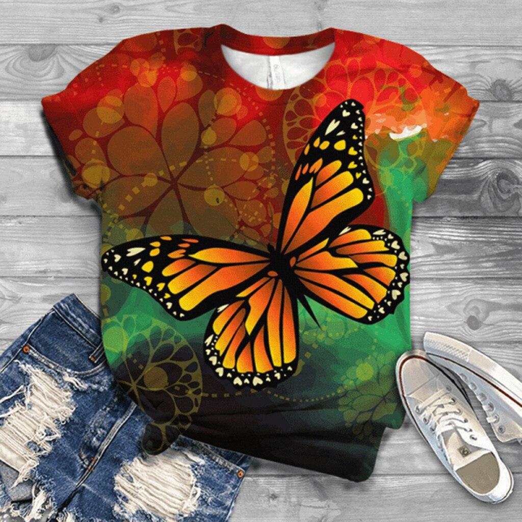 Женская футболка большого размера с коротким рукавом с 3D принтом бабочки с круглым вырезом