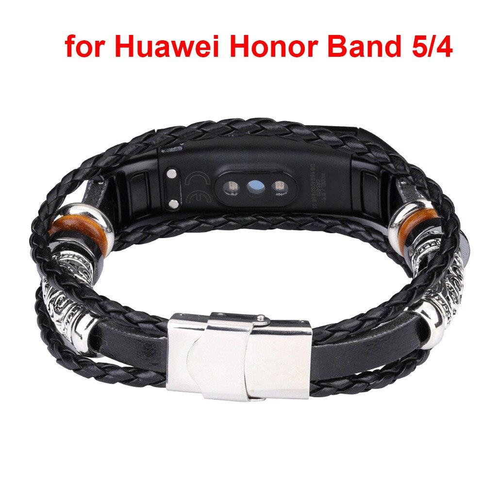 Смарт браслет CARPRIE, сменный кожаный браслет с бусинами, Плетеный ремешок для Huawei Honor Band 5/4|Смарт-аксессуары|   | АлиЭкспресс