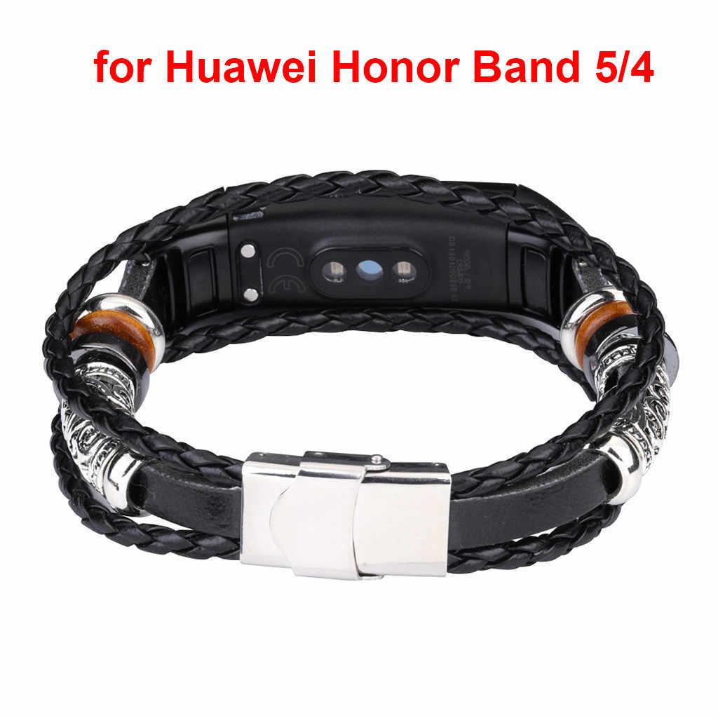 CARPRIE, умный браслет, ремень, сменный кожаный браслет с бисером, Плетеный ремешок для huawei Honor Band 5/4