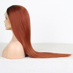 Image 4 - Charisma ยาวตรงทองแดงสีแดง Wigs ด้านหน้าลูกไม้สังเคราะห์ด้านหน้าวิกผมอุณหภูมิสูงวิกผมผมแฟชั่นผู้หญิงกลาง