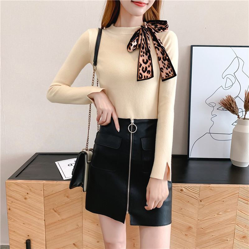 Women Knit Sweater Pullover Autumn Winter Clothes New Leopard Bow Tie Slim Pull Knitwear Sweater Jumper Long Sleeve Female Tops 15