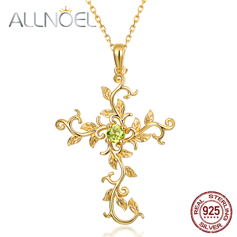 ALLNOEL Real 925 Sterling Silver Natural Peridot Gemstone Pendant Vine Cross Necklace For Women Gold Color Wedding Jewelry Gift