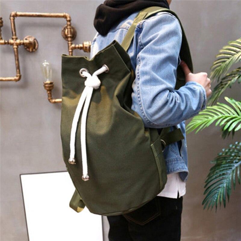 Mochila informal de lona de gran capacidad para hombre, morral sencillo de viaje, color verde militar, mochila escolar para adolescentes