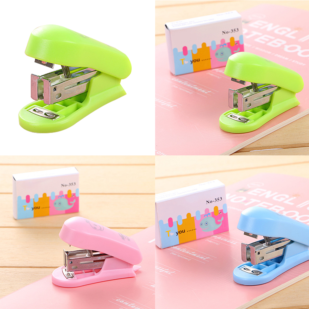 ZHUTING Plastic Mini Stapler Students School Book Sewer Cartoon Manual Office Paper Binding Stapler