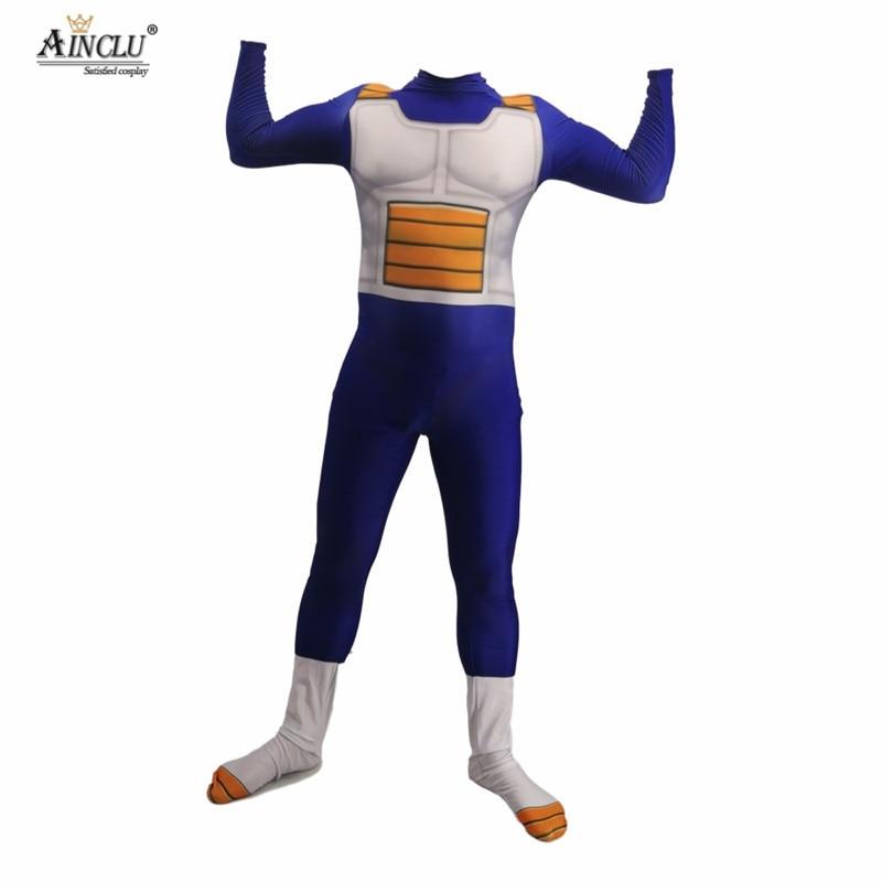 Anime Dragon Ball Z Vegeta Jumpsuit Adult Kids 3D Cosplay Costume Zentai Suit US