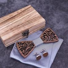 Handkerchief Cravate Bow-Tie-Set Necktie Bowtie Noeud Pajarita Gift Wooden Papillon Corbatas
