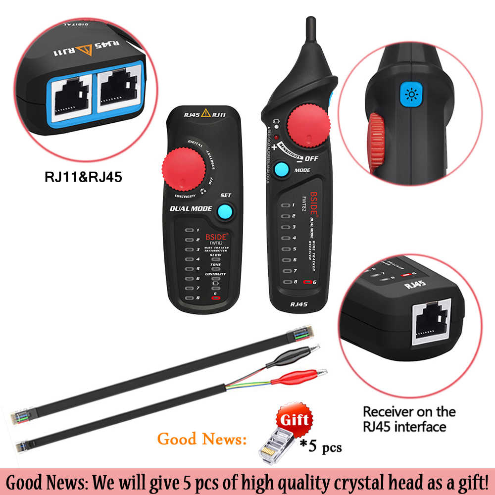 Probador de seguimiento de Cable de red BSIDE FWT82 81 RJ45 RJ11 Cable telefónico tóner Ethernet LAN Tracer analizador Detector buscador de línea