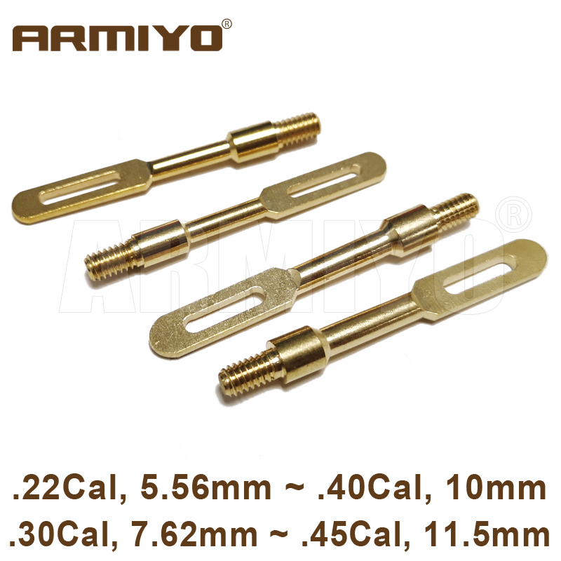 Armiyo .22Cal .30Cal .40Cal .45Cal Gun Clean Patch Puller Holder Solid Brass Slot Tips Hunting Cleaning Accessories Thread 8-32