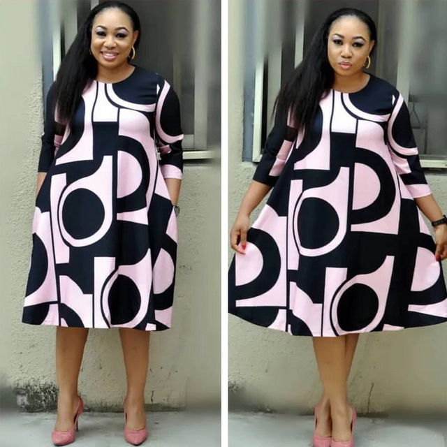 Plus-Size Dress Women Midi Winter O-Neck Polka Dot Print Long Section Ladies Office Gown Big Dresses 4