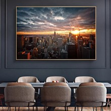 Beautiful Sunset View of New York City Posters and Prints Canvas Paintings Wall Art Pictures for Living Room Decor (No Frame)