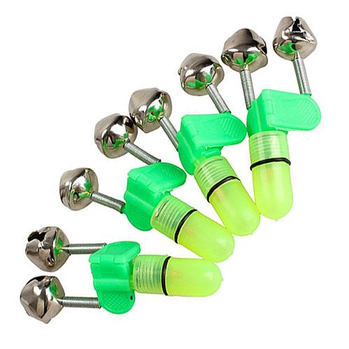 3pcs/lot Fishing Bite Alarms Fishing Rod Bell Rod Clamp Tip Clip Bells Ring Green  Fishing LED Light Lamp