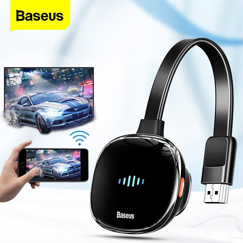 Baseusワイヤレスディスプレイアダプタ4KHDメディアビデオストリーマテレビスティック4 18k hdドングル2.4グラム5グラムwifiスクリーンミラー受信機テレビ電話