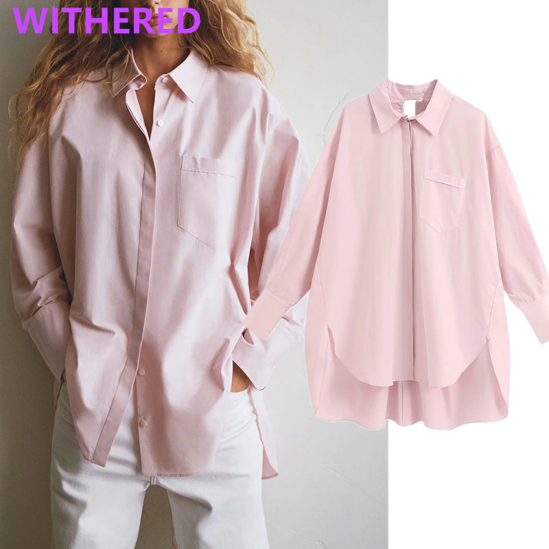 Withered England High Street Vintage Pockets Boyfriend Loose Blouse Women Blusas Mujer De Moda 2020 Shirt Womens Tops And Blouse