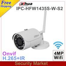 Oryginalny dahua z logo angielski IPC HFW1320S W uaktualniony do IPC HFW1435S W S2 4MP IR CCTV nadzór Bullet WI FI Camera