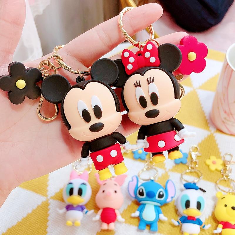 Novo anime disney mickey mouse keychai figura brinquedos minnie ponto winnie chaveiro carro casal saco chaveiro presente da menina brinquedos