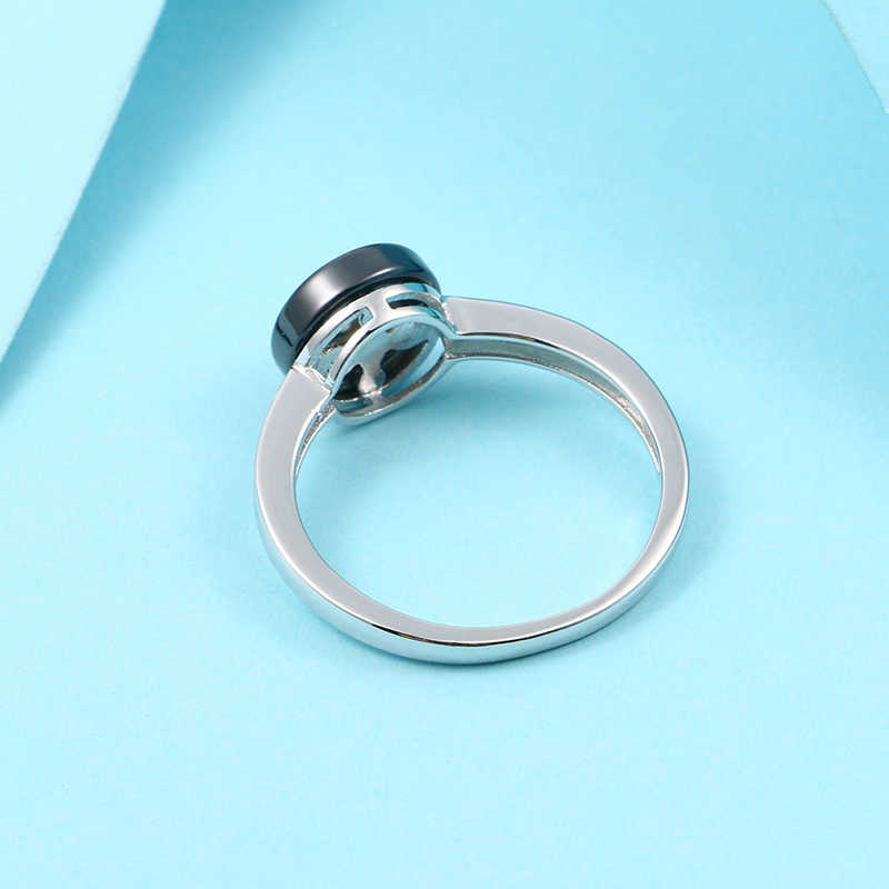 2 Mm Lebar Hitam Putih Keramik Cincin untuk Wanita Crystal Zircon Cincin untuk Wanita Fashion Perhiasan Pernikahan Pertunangan Laporan Cincin