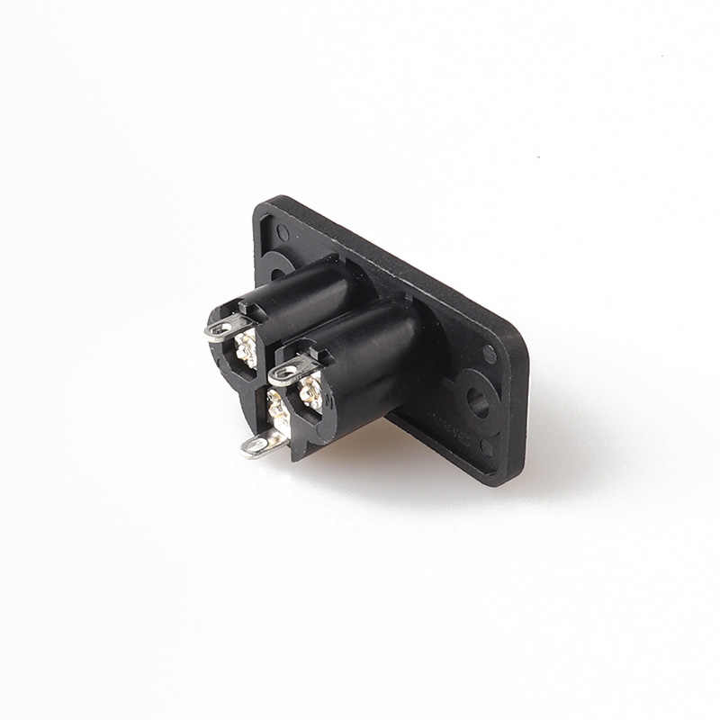 LZ-6-3S1S1 IEC C6 type AC power socket Mickey Mouse socket plum socket three core card with ear screw fixed