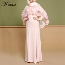 MISSJOY Women Abaya Dress Muslim Elegant Party Lace Shawl Long Kimono Turkish Islamic Clothing Pink Slim Femme Robe Dubai Плать