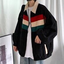 Sztruksowa kurtka moda męska kontrastowe kolorowe kurtki okazjonalne męskie Streetwear dzikie luźne hip-hopowe kurtki Bomber mężczyźni M-2XL
