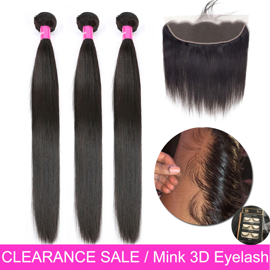 Straight Hair Bundles With Frontal Brazilian Non Remy Human Hair Weave Bundle Pre Plucked 13x4 Lace Frontal Closure With Bundles