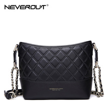 NEVEROUT Woman Handbags High Quality Split Leather Bag Totes Women Messenger Female Hobos Shoulder Crossbody Bags Black/Pink